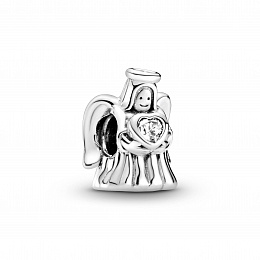 Angel silver charm with clear cubic zirconia