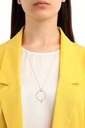 TEXTURE DOUBLE CIRCLE PENDANT NECKLACE