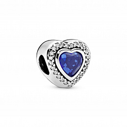 Heart silver charm with night blue crystal andclea